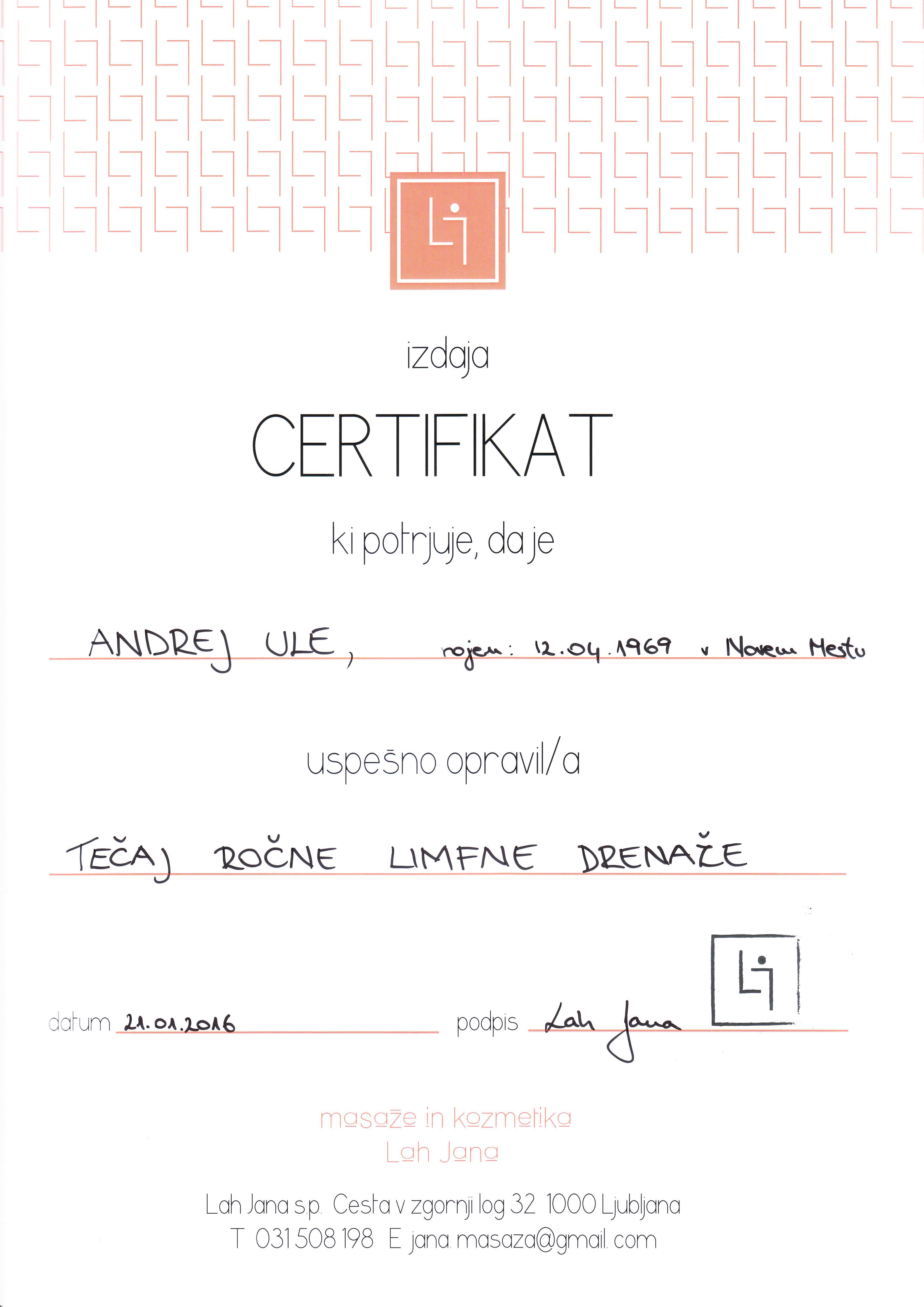 Pridobljene certifikat ročne limfne drenaže